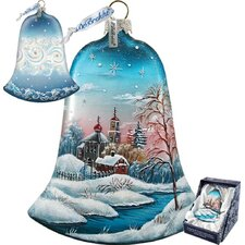 Holiday Winter Landscape Glass Bell Ornament