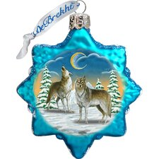 Keepsake Wolves in The Winter Moon Glass Ornament