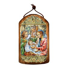 Inspirational Icon Nativity with Angel Wooden Ornament