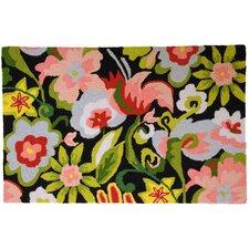 Watercolor Flowers on Black Area Rug
