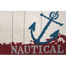 Nautical Anchor Beige/Red Area Rug