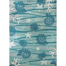 La Mer Turquoise/White Indoor/Outdoor Area Rug