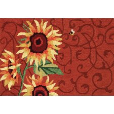 Red Sunflower and Bee Rug