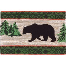 Bear In Pine Forest Light Brown Area Rug