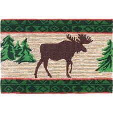 Moose in Pine Forest Light Brown Area Rug