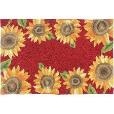 Sunflower Field Red/Yellow Indoor/Outdoor Area Rug