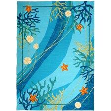 Underwater Blue Coral and Starfish Indoor/Outdoor Rug