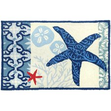 Waterfront Blue/Ivory Italian Tile With Starfish Outdoor Area Rug