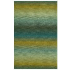 Ombre Blue/Gold Ocean Solid Area Rug