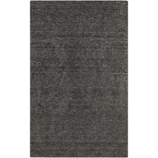 Etching Black Area Rug