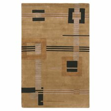 Mugal Caramel Striped Area Rug