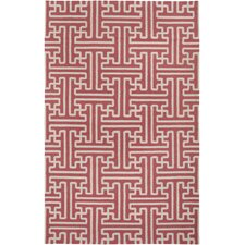 Archive Light Burgundy Geometric Area Rug