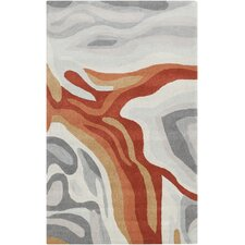 Pigments Burnt Orange/Gray Area Rug
