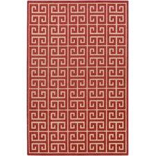 Portera Burgundy Geometric Indoor/Outdoor Area Rug