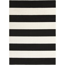 Horizon Charcoal & Ivory Striped Area Rug