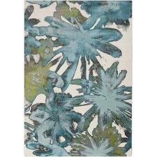 Aberdine Teal Floral Area Rug