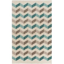 Oasis Teal Chevron Area Rug