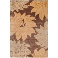 Mugal Brown Floral Area Rug
