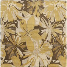 Athena Gold/Chocolate Floral Area Rug
