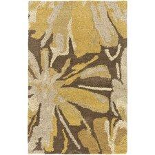 Athena Gold/Chocolate Floral Area Rug