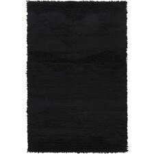 Topography Black Solid Area Rug