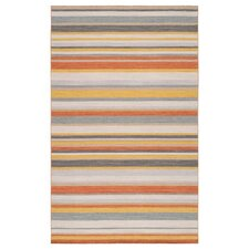Calvin Golden Yellow/Misty White Striped Area Rug