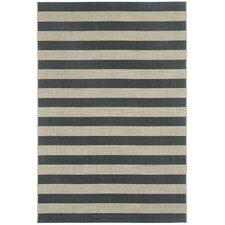 Elsinore Cinders Black/Grey Striped Outdoor Area Rug