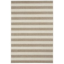 Elsinore Wheat Beige Striped Outdoor Area Rug