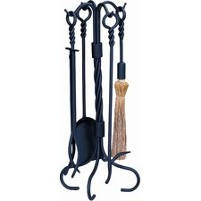 4 Piece Ring Swirl Hand Bronze Fire Tool Set With Stand