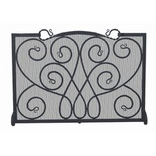 Single Panel Ornate Wrought Iron Fireplace Screen