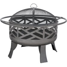 Wood Outdoor Firebowl With Geometric Design