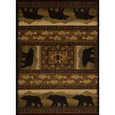 Affinity Black Bears Lodge Ivory Area Rug