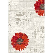 Infinity Ivory & Red Floral Area Rug