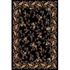 Yazd Floral Black Area Rug