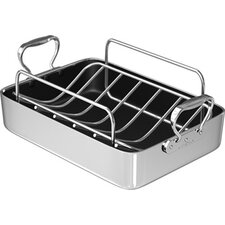 "14"" Polished Aluminum French Roaster with Rack"