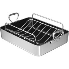 "16"" Polished Aluminum French Roaster with Rack"