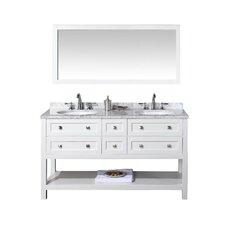 "60"" Double Sink Bathroom Vanity Set with Mirror"