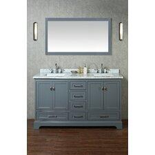 """Newport 60"""" Double Sink Bathroom Vanity Set with Mirror"""