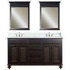 """60"""" Double Bathroom Vanity Set with Mirror"""