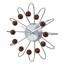 "Telechron Bent Spokes Modern 13"" Wall Clock in Walnut"