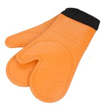 Heat Resistant Quilted Lining Kitchen Oven Mitt Gloves (Set of 2)