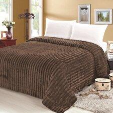 Rib Pattern Soft Plush Faux Mink Fur Throw Blanket