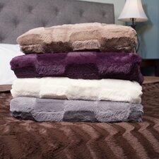 Box Pattern Soft Plush Faux Mink Fur Throw Blanket