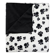 Dalmation Paw Print Plush Faux Fur Throw Blanket