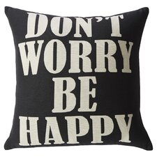 Amyntas Don't Worry Be Happy Feathered Throw Pillow