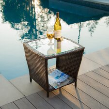 Austral Wicker Side Table with Glass Top
