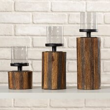 Kerberos 3 Piece Wood, Glass & Metal Candlestick Set