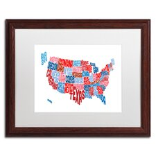 United States Typography Text Map by Michael Tompsett Framed Graphic Art