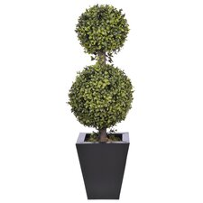 Artificial Double Ball Topiary in Pot