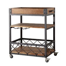 Aletha Kitchen Cart with Wooden Top